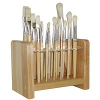 ECR4kids Hardwood Paintbrush Stand With 24 Holes