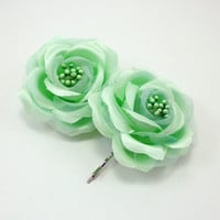 Mint Green Hair Flower, mint flower clip, flower hair pin, vintage style hair flower, wedding accessories