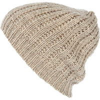 Cream crochet beanie hat