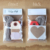 "Mini Gift Wrap Kit / Scrapbooking Kit - ""I Love Fall"""