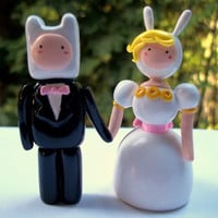 Mini Adventure Time Wedding Cake Toppers by ImSodaHyper on Etsy