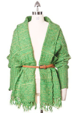 Tassels Hand-knit Cardigan with Belt in Green - Tops - Retro, Indie and Unique Fashion