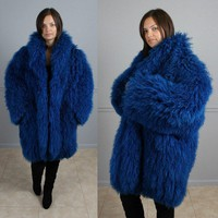 SUPER SHAGGY ELECTRIC BLUE MONGOLIAN LAMB FUR COAT M L XL