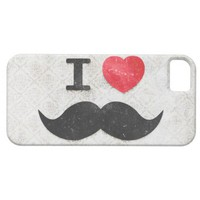 I love / heart Mustaches vintage damask iPhone 5 Cases from Zazzle.com