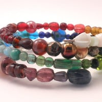 Rainbow Beaded Memory Wire Bracelet - One Size Fits All