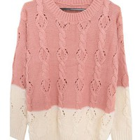 Cable Knit Jumper with Color Block Design in Pink and Beige