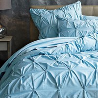 Organic Pintuck Duvet Cover + Shams - Sea