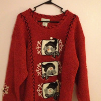 Christmas Red Snowman sweater