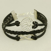 Infinity Bracelet, Tree  of life Bracelet--karma,Wax Cords and Imitation Leather Bracelet