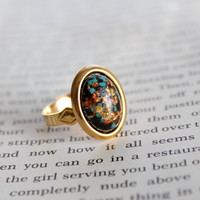 Black and Gold Harlequin Galaxy Cabochon Ring Upcycled Vintage Gold Tone Adjustable Jewelry Nickel Free Lead Free