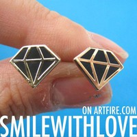 SALE - Simple Diamond Shape Stud Earrings in Black on Gold from Dotoly Love