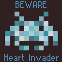 Beware Heart Invader Space Invader Baby Boy Cross Stitch Pattern | Los Angeles Needlework