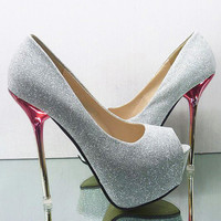 Silve Glitter Super High Heel Platform Open Toe Women Evening Party Prom Shoes