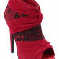 Wild Rose Gilly-15 Pleated Peep Toe Bootie