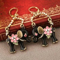 HOT! Betsey Johnson Retro BLACK ELEPHANT FLOWER stud Earring BJ0524