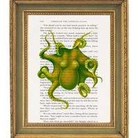 Green Octopus Print on Book Page  6x9 by papergangsterprints