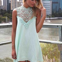 Mint Sleeveless Dress with High Lace Neckline