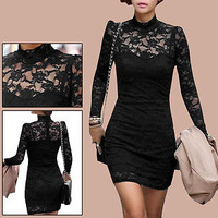 Women Pullover Semi Sheer Long Sleeve Spring Black Mini Dress XS
