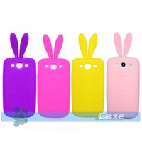 Bunny Rabbit Ears Silicone Skin Case Samsung Galaxy S III S3 i9300 Pink Purple