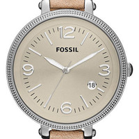 Fossil Round Leather Strap Watch | Nordstrom