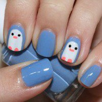 Blue Penguin Nails