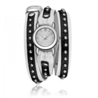 Black Leather Wrap Watch With Rivet on Luulla