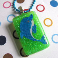 Blue Dolphin Resin Necklace