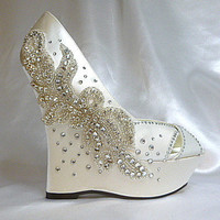 Dhalia .. ivory satin 5 inch wedge and Swarovski crystal adornments