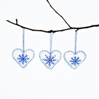 ON SALE 20% Set of 3 Hearts Christmas Ornament with Snowflake in White and Blue