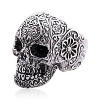 Punk Style Silver Skull Ring on Luulla