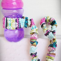 Sippy Cup Holder, Bottle Leash, Toy Tether  - Kaleidoscope Stripes - Handmade Crafts by GraceandLoveBoutique