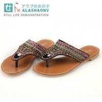 Wholesale Online Beads String Ladies Sandals Black : Wholesaleclothing4u.com