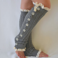 Leg warmers- grey cable knit slouchy open button down lace leg warmers knit lace leg warmers boot socks christmas gifts