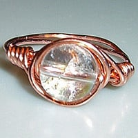 Copper Quartz Crystal Ball Ring made to size