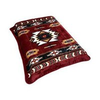 Amazon.com: Burgundy Native American Print Blanket: Sports & Outdoors