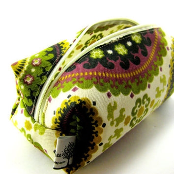 Bohemian Makeup bag, Boxy Pouch, Gadgets, Squared Corners, Zippered, Travel, On the Go, Under 10, For Her, Cute, Small, G