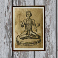 Vishnu print Hindu God Old paper Vintage art antique looking