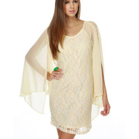 Romantic Lace Dress - Cream Dress - Ivory Dress - Chiffon Dress 