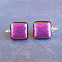 Hot Pink Dichroic Earrings, Glass Clip-On Earrings Jewelry - Crabtree - 1666