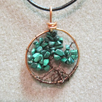 Tree of Life Jade Nuggets Pendant Necklace Copper heavy gauge handmade