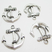 4 Silver Nautical Anchor Charms 4052