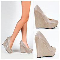Champagne Glitter Platform Wedges Sparkle Fashion Party Heel Womens Shoes PRETTY
