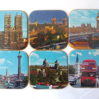 Six Glass Coasters - London Images - Plastic