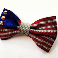 American flag painted BIG hair bow