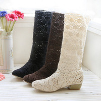 womens lace boots womens boots- handmade- preorder-freeshipping by ClothLess