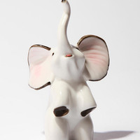 Ceramic Elephant Ring Holder- White One
