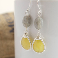 Labradorite Dangle Earrings, Yellow Earrings, Wire Wrapped Earrings, Bezel Set Earrings