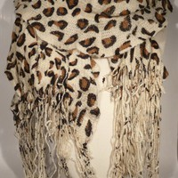 Ruffled Light Tan Animal Leopard Print Scarf with Scalloped Fringe