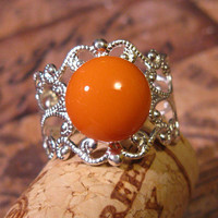 Simply Orange Silver Filigree Ring
