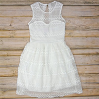SALE - Zig Zag Lace Dress - White | .H.C.B.